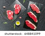 beef cow steak meat with spices ... | Shutterstock . vector #648841099