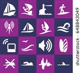 wave icon. set of 16 wave...