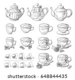 collection of tea leaves and... | Shutterstock .eps vector #648844435