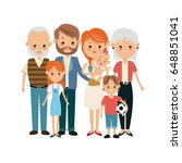 very adorable big family... | Shutterstock .eps vector #648851041