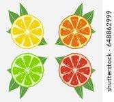 citrus fruits with leaf. orange ...   Shutterstock .eps vector #648862999