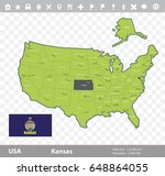 usa kansas state map and flag...   Shutterstock .eps vector #648864055