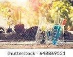work desk of scientist working... | Shutterstock . vector #648869521
