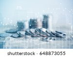 double exposure of coins and... | Shutterstock . vector #648873055