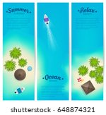 tropic islands top view with... | Shutterstock .eps vector #648874321