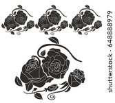 rose tattoo. silhouette of... | Shutterstock .eps vector #648888979
