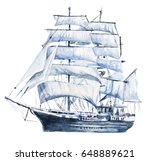 watercolor hand drawn nautical  ... | Shutterstock . vector #648889621
