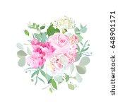 bouquet of rose  peony ... | Shutterstock .eps vector #648901171