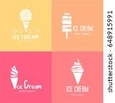 set of vector ice cream logos.... | Shutterstock .eps vector #648915991