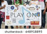 Small photo of Music Note Melody Sound Play Word Graphic