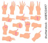 set female hands. hands in... | Shutterstock .eps vector #648923497