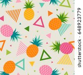colorful trendy pineapple and... | Shutterstock .eps vector #648923779