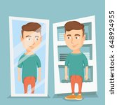 young man looking at himself in ...   Shutterstock .eps vector #648924955