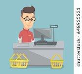 caucasian cashier standing at... | Shutterstock .eps vector #648925321