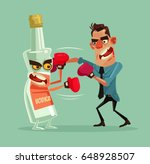 angry man fights with alcohol... | Shutterstock .eps vector #648928507
