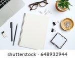 top view workspace mockup on...   Shutterstock . vector #648932944
