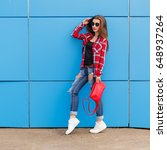 Fashion Hipster Girl Pose In...