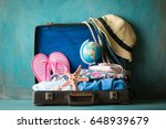 packed vintage suitcase for... | Shutterstock . vector #648939679