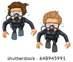 two scuba divers in wetsuit... | Shutterstock .eps vector #648945991