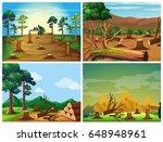 four scenes of deforestation... | Shutterstock .eps vector #648948961