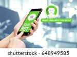 hand holding mobile chat with... | Shutterstock . vector #648949585