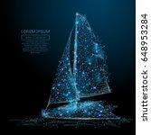 polygonal sailing yacht. sea... | Shutterstock .eps vector #648953284