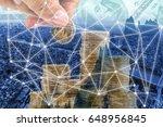 double exposure golden money...   Shutterstock . vector #648956845