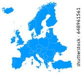 map of europe   white background | Shutterstock . vector #648961561