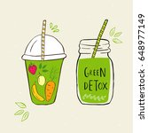 hand drawn jars with smoothies. ... | Shutterstock .eps vector #648977149