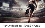 sport background. runner on the ... | Shutterstock . vector #648977281
