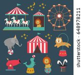 set of circus animals and... | Shutterstock .eps vector #648978211