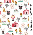 circus seamless pattern with... | Shutterstock .eps vector #648978229