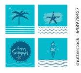 set of 4 beautiful summer... | Shutterstock .eps vector #648978427