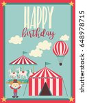 happy birthday card  circus... | Shutterstock .eps vector #648978715