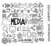 media doodle sketch vector ink | Shutterstock .eps vector #648991435