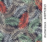 tropical pattern with palm... | Shutterstock .eps vector #648992815
