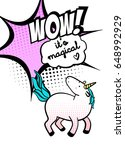 magic unicorn vector... | Shutterstock .eps vector #648992929