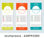 three vector pricing tables for ...   Shutterstock .eps vector #648993385