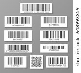 realistic barcode icon set... | Shutterstock .eps vector #648998359