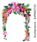 wedding arch from tropical... | Shutterstock .eps vector #649002721