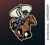 cowboy with a lasso on a horse  ... | Shutterstock .eps vector #649002859