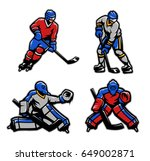 hockey players and goalkeepers... | Shutterstock .eps vector #649002871