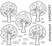 fruit trees. black and white... | Shutterstock .eps vector #649002997