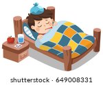 sick cute boy sleep in bed with ... | Shutterstock .eps vector #649008331