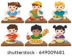 group of happy kids eating... | Shutterstock .eps vector #649009681