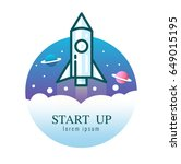 rocket launch icon. start up... | Shutterstock .eps vector #649015195