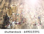 pair glass of champagne. flutes ...   Shutterstock . vector #649015591