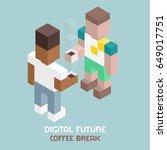 digital future team coffee... | Shutterstock .eps vector #649017751