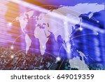 double exposure blur of people... | Shutterstock . vector #649019359