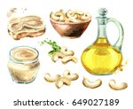 cashew products set. watercolor ... | Shutterstock . vector #649027189